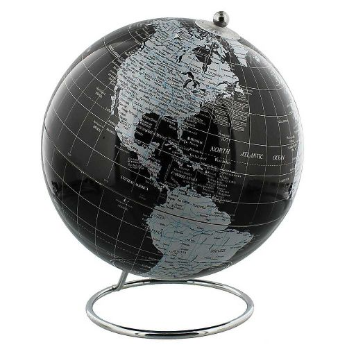 Black Globe With Silver Metal Base - Black & Silver Globe Of The World